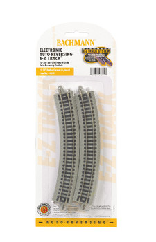 "Bachmann 44849 N Scale E-Z Track Nickel Silver Auto-Reversing 11.25"" Radius Curved Track (6/card)"