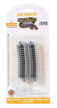 "Bachmann 44822 N Scale E-Z Track Half Section 12.50"" Radius Curved Track (6/card)"