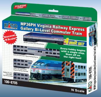 KATO 1068705DCC N Scale MP36PH w DCC Virgina Rail Bi-Level Commuter Set