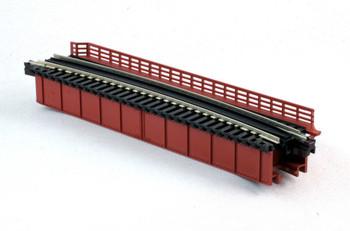 "Kato 20-470 N Scale Curved Deck Girder Bridge, Red - 481mm (19"") Radius 15º"