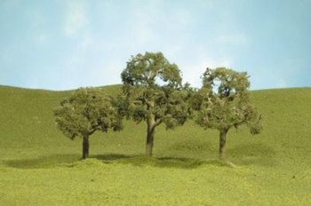 Bachmann 32007 HO Scale 2.5 inches 3.5 inches Walnut Trees 3 Per Box