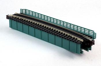 "Kato 20-471 N Scale Curved Deck Girder Bridge, Green - 481mm (19"") Radius 15º"