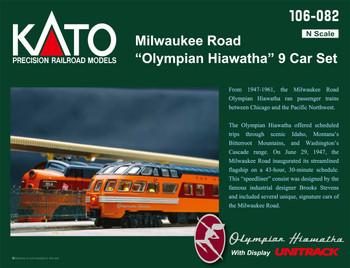 Kato 106082 N Scale Milwaukee Road Olympian Hiawatha 9-Car Set