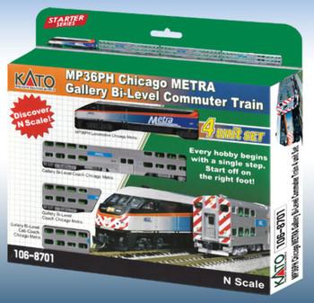 Kato 1068701 N MP36PH Chicago METRA Gallery Bi-Level Commuter Train Starter Series 4-Unit Set