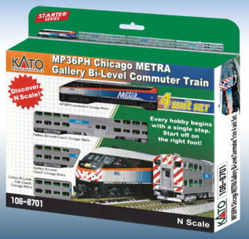 Kato 1068701DCC N MP36PH Chicago METRA Bi-Level Commuter Train Starter Series 4-Unit Set w/ DCC