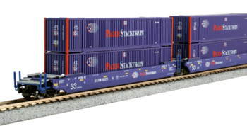 Kato 1066179 N Gunderson MAXI-IV Well Car 3-unit Set - Pacer with Pacer Containers #6020
