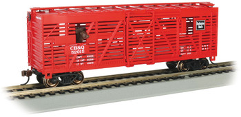 Bachmann 19710 HO CB&Q #52025 with Cattle