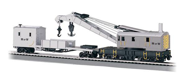 Bachmann 16138 HO Maintenance-of-Way 250-Ton Crane Car & Boom Tender