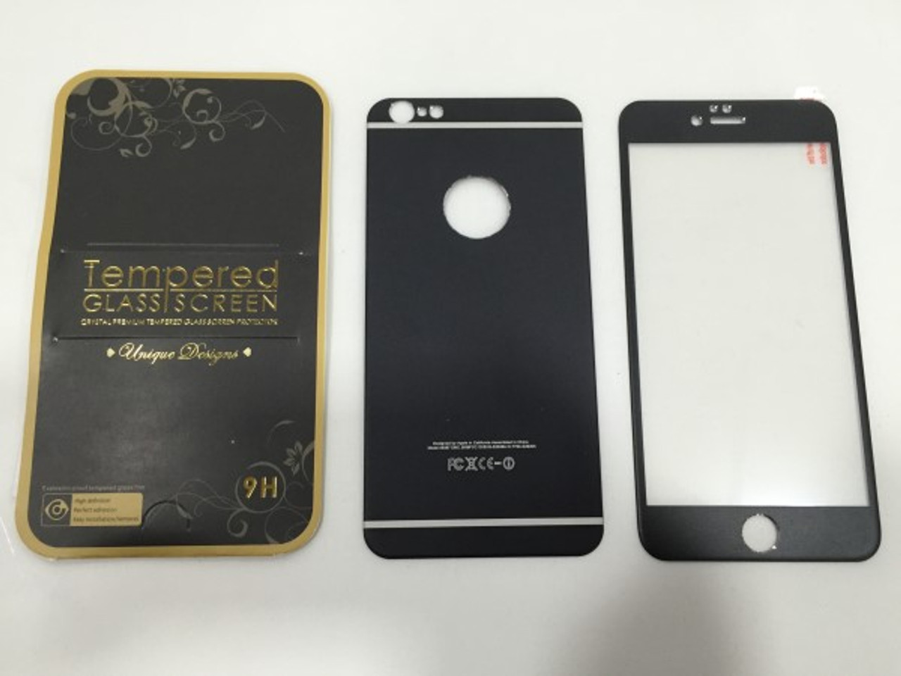 Black Front   Back Alloy SCREEN TEMPERED GLASS FOR APPLE IPHONE 6 4.7 INCH 90ab90900627