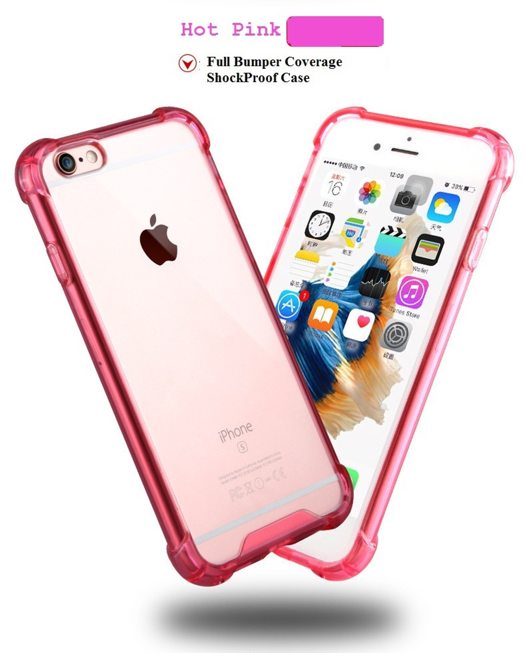 save off f5f50 517f9 Hot Pink Drop Proof Bumper Edge Case Crystal Shell For Apple Iphone 6 6S  Plus 5.5