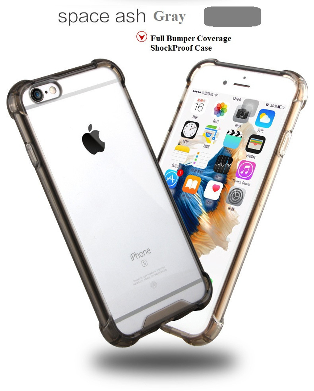 the best attitude 7434b 00d83 Space Gray Drop Proof Bumper Edge Case Crystal Shell For Apple Iphone 6 6S  Plus 5.5