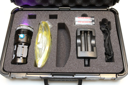 High-flux 405nm Near-UV filtration and coatings inspection flashlight kit