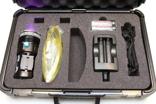 High-flux 405nm Near-UV filtration and coatings inspection flashlight kit