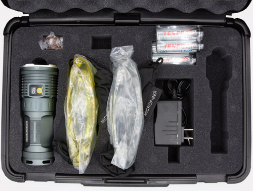 Kit includes flashlight, four high-end Tenergy 18650 cells, U50 (yellow) and U10 (clear) viewing glasses, side-port charger (universal voltage), and custom cast.