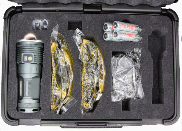 Kit includes flashlight, four high-end Lithium-ion cells, universal charger, two pairs of viewing glasses, and custom case.