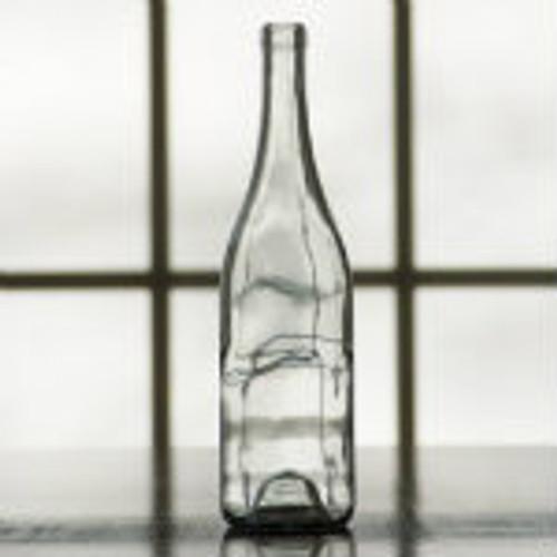 750 ml clear wine bottle with sloped shoulder.