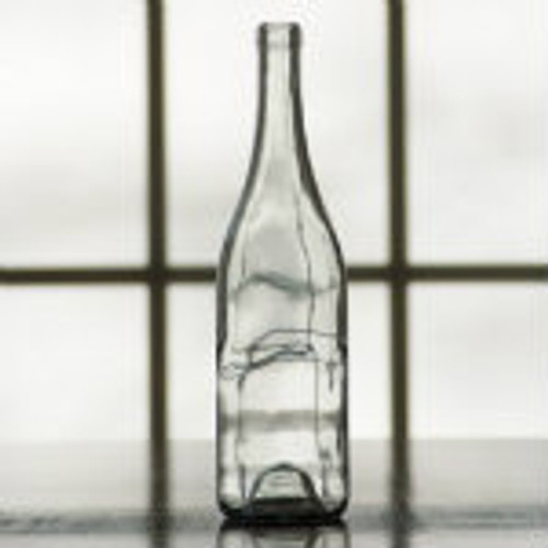 750 ml clear wine bottle with sloped shoulder.
