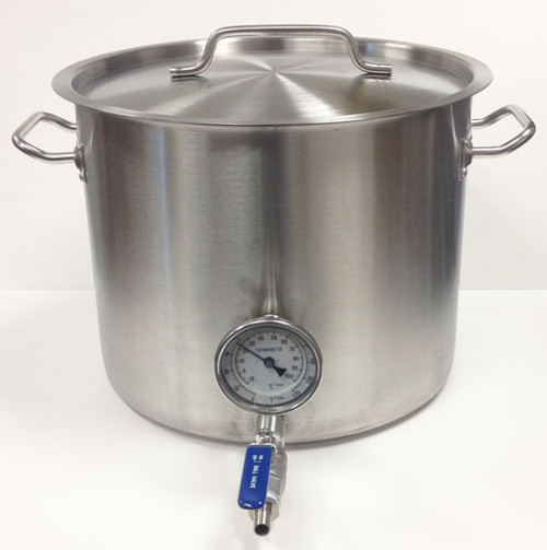 8 Gallon Stainless Steel Kettle with Tri-Clad Bottom & Welded Ports for Valve & Thermometer