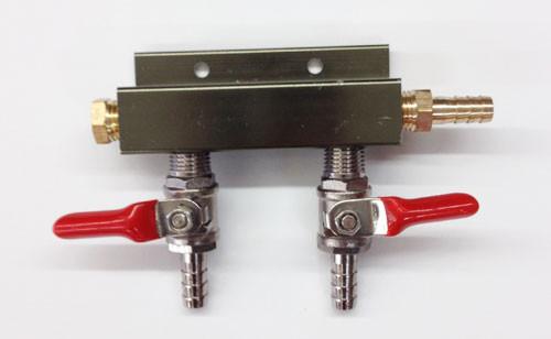 CO2 Distributor - Brass/Chrome  2, 3 and 4 Ways Gas Manifolds