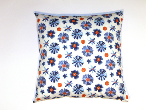 Red and Blue Floral Organic Cotton Cushion Cover