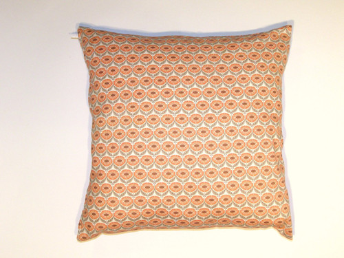 Organic Cotton Cushion Cover - Orange Floral