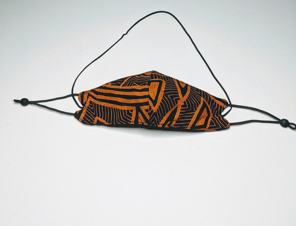 African Print Mask - Orange / Black