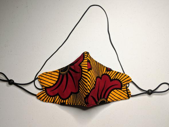 African Print Mask - Orange / Red