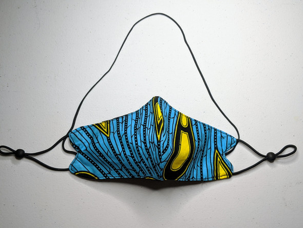 African Print Mask - Drop/Blue/Yellow