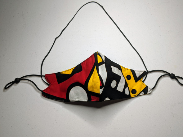African Print Mask - Red/Yellow