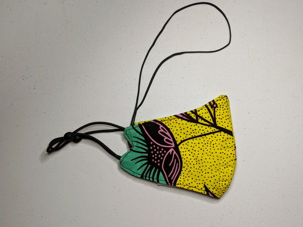 African Print Mask - Yellow/Pink