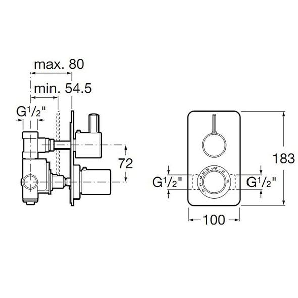 Roca Targa T Thermostatic Concealed BIV 2 Handle 1 Outlet Shower Valve Only 5A2960C00