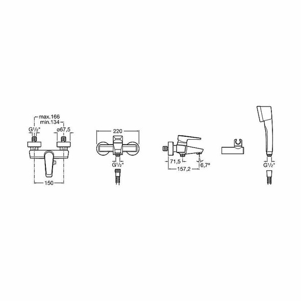 Roca Esmai Wall Mounted Exposed Bath Shower Mixer Tap and Kit Chrome Plated 5A0131C00