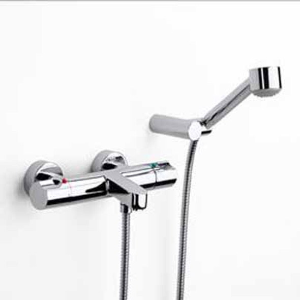 """Roca Moai-T Single Lever Wall Mounted Thermostatic Bath Shower Mixer and Kit Chrome Plated 1/2"""" 5A1146C00"""