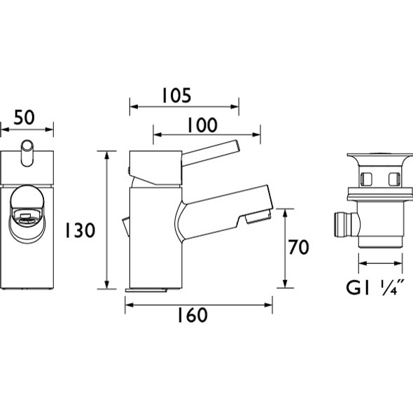"Bristan Prism Chrome Plated 1/2"" Monobloc Basin Mixer with PUW Pop Up Waste    PM BAS C"