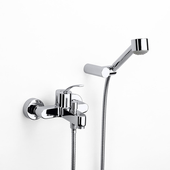 """Roca Moai Single Lever Wall Mounted Bath Shower Mixer Tap and Kit Chrome Plated 1/2"""" 5A0146C00"""