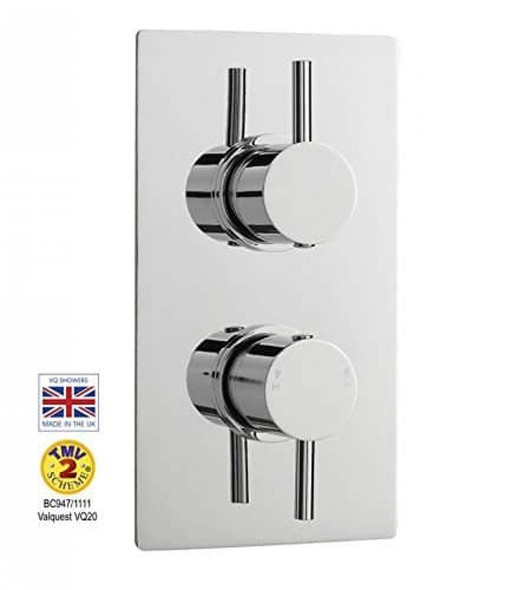 Ultra Chrome Plated Twin Control 1 Outlet Thermostatic Concealed Shower Valve   JTY312