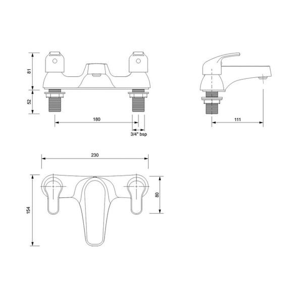 Twyfords X52 Bath Filler Lever Deck Mounted X525255CP
