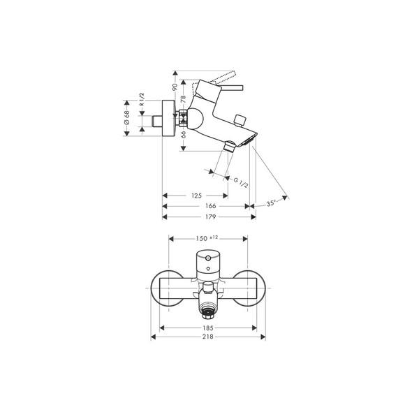 HansGrohe Talis S 2 Bath Mixer Wall Mounted Chrome Plated     32440000