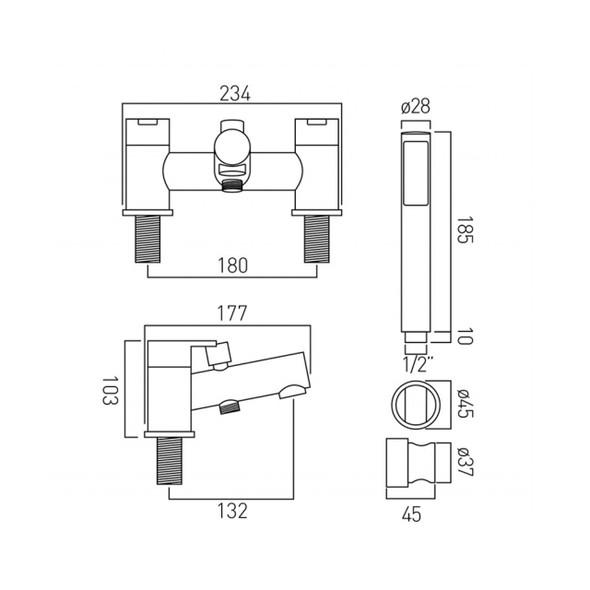 Vado Life Deck Mounted Bath Shower Mixer With Shower Kit - LIF-130+K-C/P