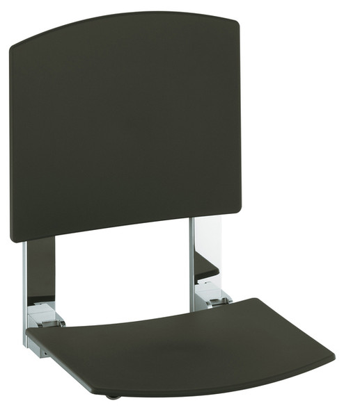 Keuco Plan Care Tip-Up Shower Seat with Backrest Chrome/Dark Grey With Mounting Set 34982 010037 | 34991 000100