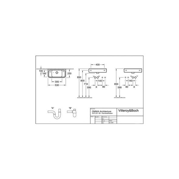V&B Omnia 1TH Architectura Compact 1TH Pre-punched (RH/LH) Basin 530x250mm White   5373.25.01