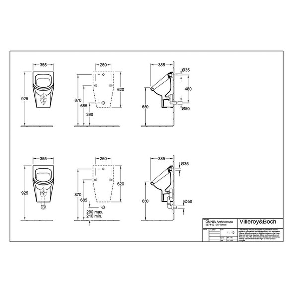 V & B Omnia Architectura Siphonic Urinal  with Concealed Inlet, fastening St and Concealed Waste Unit 5574.00.01/9326.00.00