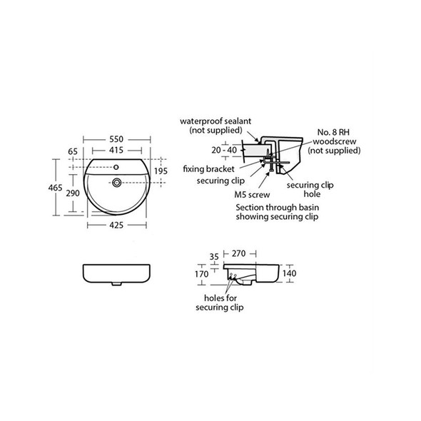 Ideal Standard Concept Sphere 55cm Semi Countertop Basin - Two Tapholes E792201