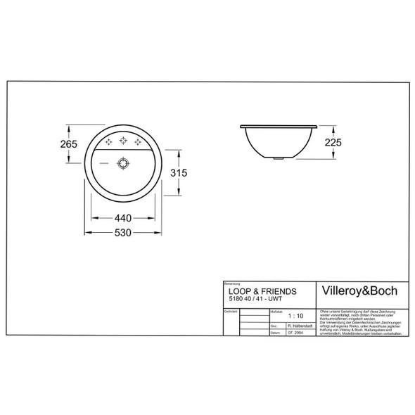 V & B Loop & Freinds Undercounter Basin 440 mm Diameter 1 Tap Hole  5180.40.01