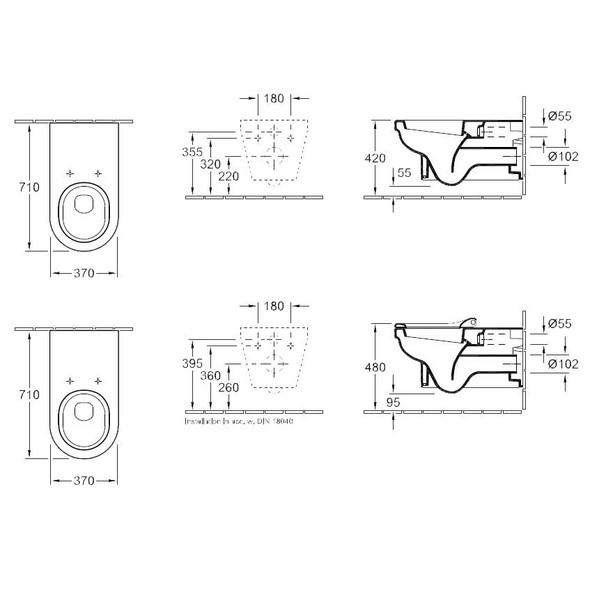 Villeroy & Boch Omnia Architectura Vita Wall Hung Pan 370 x 710 mm 5678.10.01
