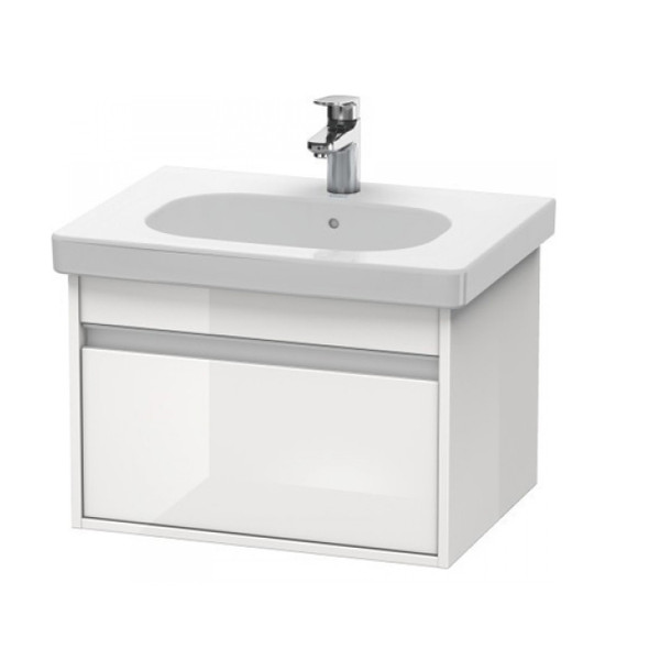 Duravit Ketho Wall Hung 65cm 1 Drawer Vanity Unit with D-Code 1TH Furniture Washbasin Boxed Pack   Gloss White     KT006202222