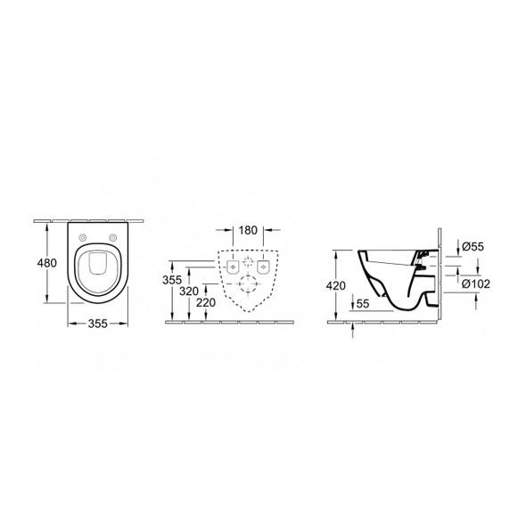 V&B Omnia Architectura Compact 355 X 480mm Wall Hung Pan White - 5682.10.01