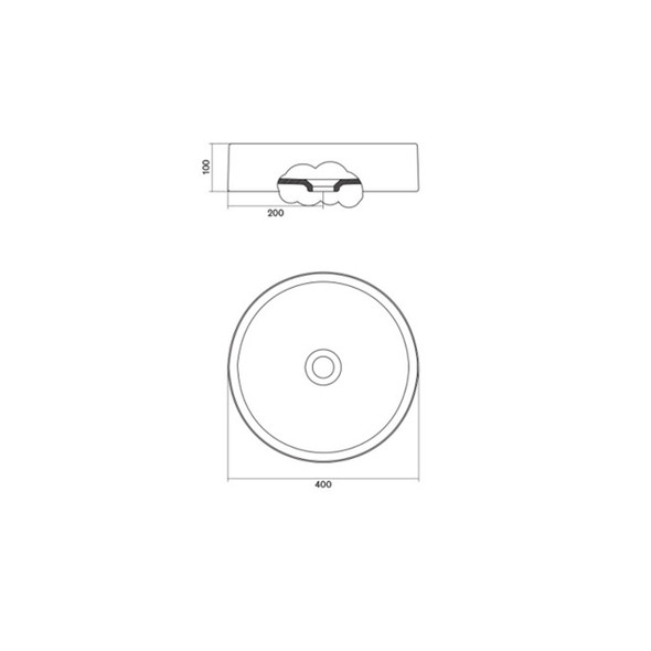 Cifial F3 - Round 400mm Countertop Basin White (No Tap Hole, No Overflow) 1738340040
