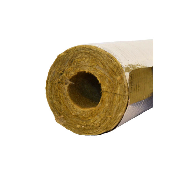 Rockwool Foil Backed Rigid Section Pipe Insulation with 20mm Wall - 1Mtr Lengths x 17mm Bore      PBR1720