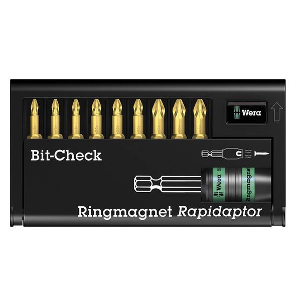 Wera 8855-9T/H Screwdriver 9 Bits Set with Rapidaptor with Magnet Universal Holder      05056379001